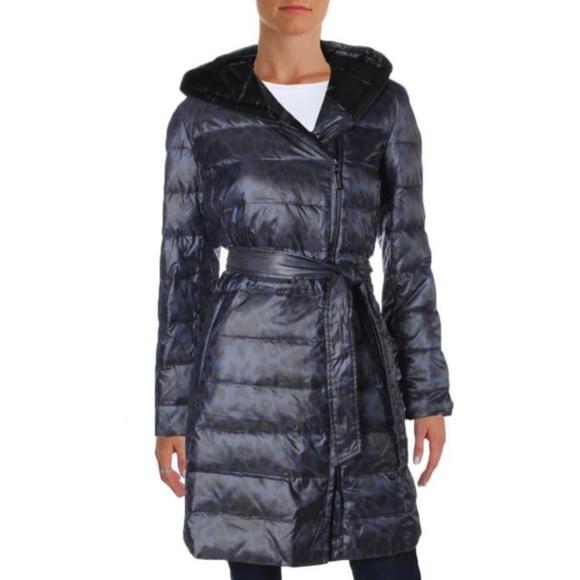 bef273c9ae26 Ellen Tracy puffer Animal Print Hooded Down Coat